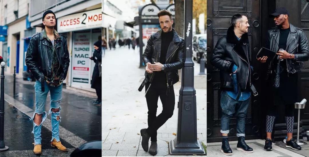 提升帅与时尚的造型魅力,混搭皮衣外套就可以!  秋11月 第1张