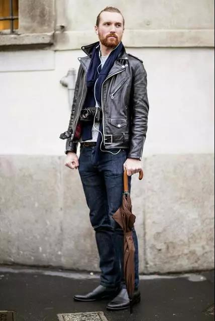 提升帅与时尚的造型魅力,混搭皮衣外套就可以!  秋11月 第7张