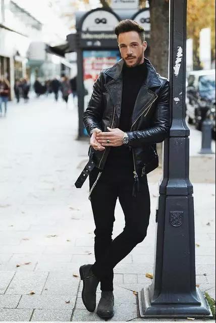 提升帅与时尚的造型魅力,混搭皮衣外套就可以!  秋11月 第8张
